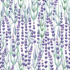 Fototapeta Lawenda Watercolor lavender pattern