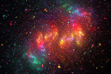 Rainbow Galaxy. Abstract Red, ...