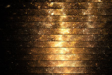 Abstract Glittering Geometric Texture With Gold Sparkles On Black Background. Fantasy Fractal Design. Digital Art. 3D Rendering.