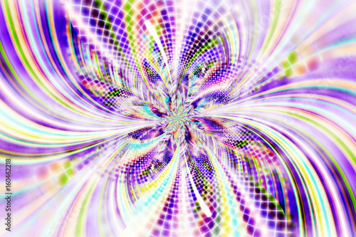Poster Psychedelic Exotic flower with textured petals. Abstract symmetrical floral design in blue, violet, yellow and green colors. Fantasy fractal art. 3D rendering.