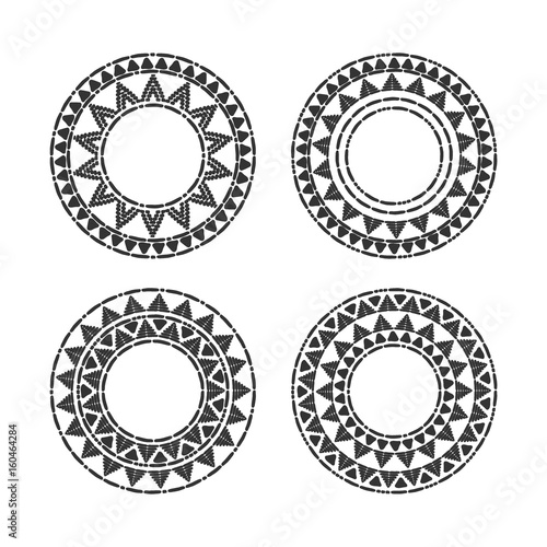 Tribal round frames set vector. African, mexican, Peruvian or Aztec ...