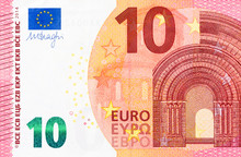 Part Of 10 Euro Bill On Macro.