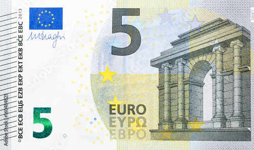 Photographie  Macro detailed text on a 5 euro banknotes.