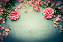 Pink Roses Background On Retro Toned Shabby Chic Wood, Top View, Retro Toned, Floral Border