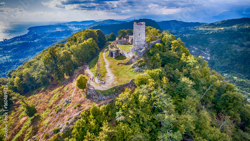 Ancient fortress with the remnants of the ruins on top of a mountain in New Atho Canvas Print