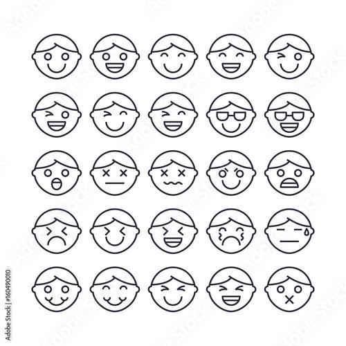 Set of Emotion face Outline Icon design   All Icon designed