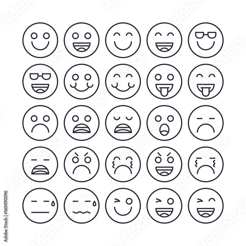 Set of Emotion face Outline Icon design   All Icon designed on 64x64