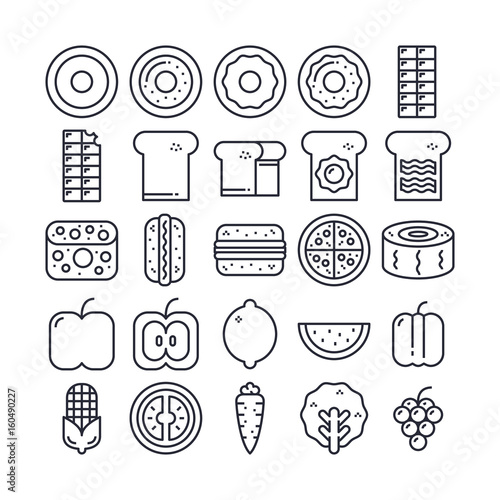 Set of Food Outline Icon design   All Icon designed on 64x64 Pixel