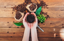 Scrub Coffee Grounds. Body Care Concept
