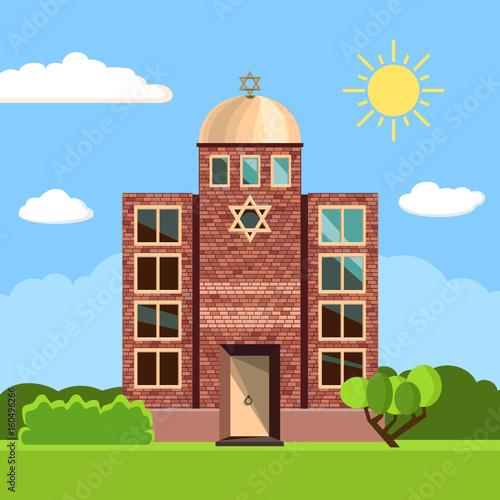 Cuadros en Lienzo Jewish synagogue icon. Vector illustration