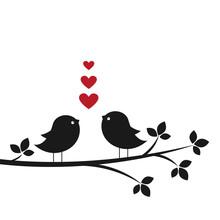 Silhouettes Cute Birds In Love