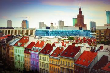 Panel Szklany Warszawa Warsaw colorful panorama. A view of Krakowskie Przedmiescie. Mazovia, Poland.