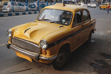 Yellow Vintage Taxi In Kolkata...