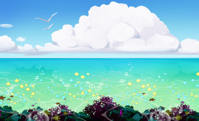 Fototapeta na wymiar beautifull illustration of a seascape with blue water and sealife in it