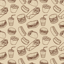 Seamless Pattern With Fast Food Illustrations Pattern.  Design Element For Poster, Wrapping Paper. Vector Illustration