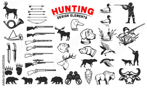 Set of hunting design elements Wallpaper Mural