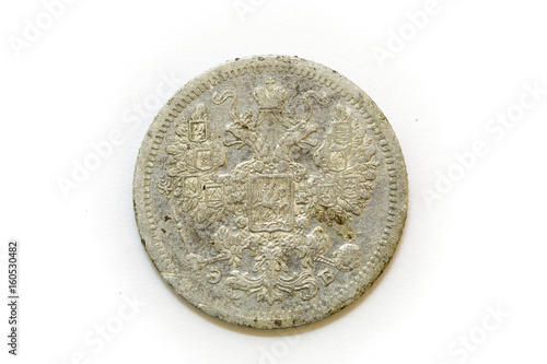 Poster  15 kopecks 1907 reverse silver coin of Russia isolated on white background
