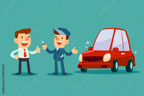 Staande foto Cartoon cars mechanic give a key of repaired car back to his customer