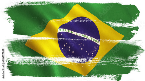 Brazil Flag Waving - Brazilian Texture Canvas