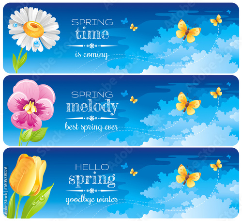 Spring banner set easter mothers day birthday wedding invitation easter mothers day birthday wedding invitation daisy stopboris Images