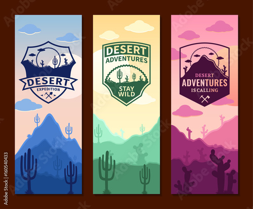 Desert adventures vertical banner set