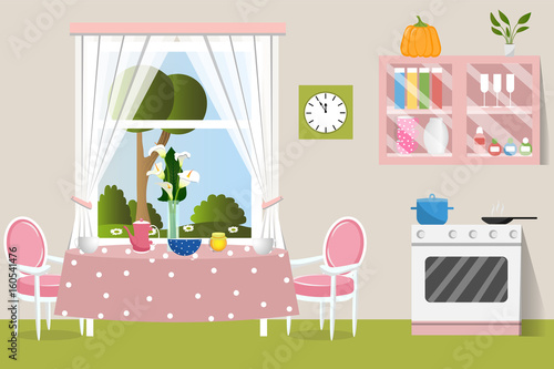 The Interior Dining Room Flat Design Cartoon Vector Illustration