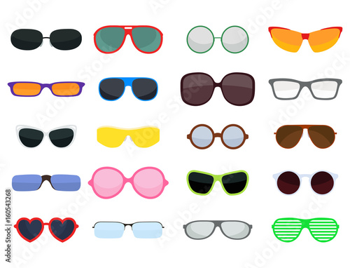 Fashion set sunglasses accessory sun spectacles plastic frame modern eyeglasses vector illustration.