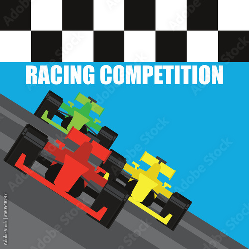 Staande foto F1 formula one / grand prix racing poster. vector illustration