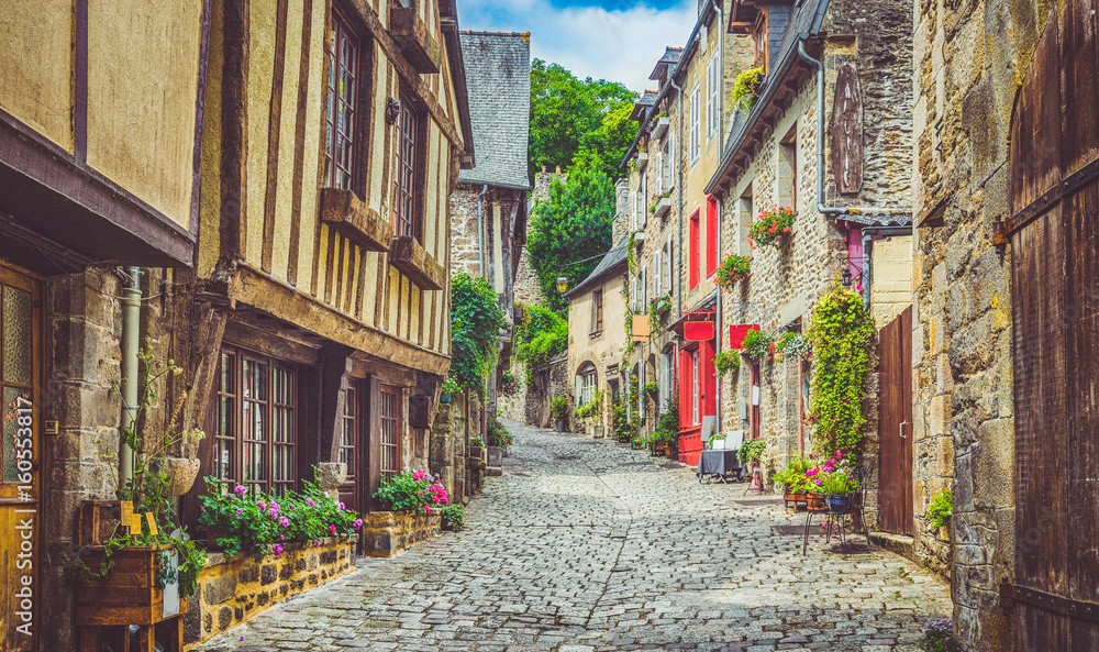 Idyllic alley scene in an old town in Europe
