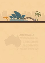 Template Leaflets With A Map And Symbols Of The Australia And Place For Text On Old Paper