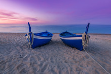Blue Wooden Fishing Boats On B...