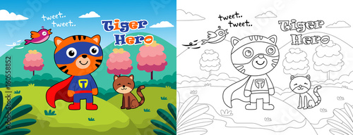 Foto op Canvas Honden tiger hero and friends. funny coloring page for children