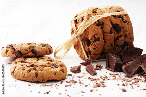 Tuinposter Koekjes Chocolate cookies on white background. Chocolate chip cookies shot