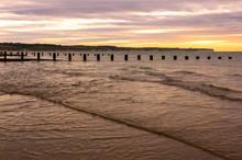 Bridlington North Beach And Flamborough Head English East Coast Resort Sheltered By Flamborough Head, Chalk Headland Extending 5 Miles Into The North Sea, Seen Here At Sunrise.