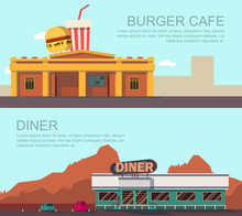 Vector Illustration Of Diner A...