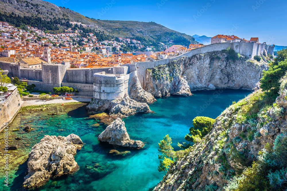 Fototapety, obrazy: Dubrovnik landscape. / Aerial view at famous european travel destination in Croatia, Dubrovnik old town.