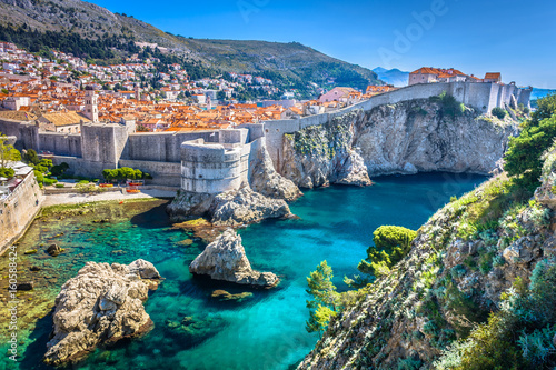 Staande foto Landschappen Dubrovnik landscape. / Aerial view at famous european travel destination in Croatia, Dubrovnik old town.