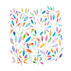 FototapetaWatercolor painting of thin tree branches with multicolored leaves