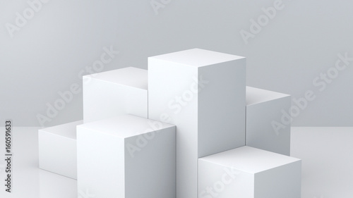 Carta da parati White cube boxes with white blank wall background for display
