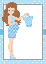 Vector Card Template With A Pregnant Woman On Polka Dot Background. Vector Baby Boy.