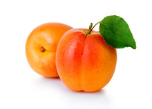 Ripe Apricot Fruits With Green...