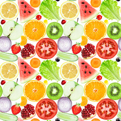 FototapetaFruits and vegetables seamless pattern