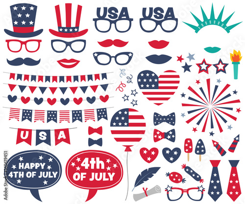 4th of July design elements and photo booth props set Wall mural