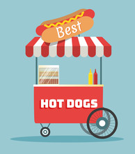Vector Hot Dogs Street Cart