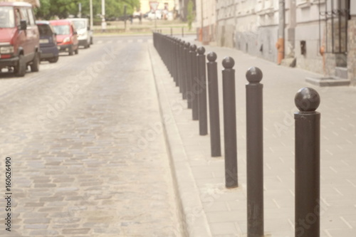 Fotomural Columns That Restrict The Movement Of Vehicles And Parking, Bars For Limiting, B
