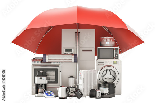 Household kitchen appliances, guarantee and protection concept Canvas Print