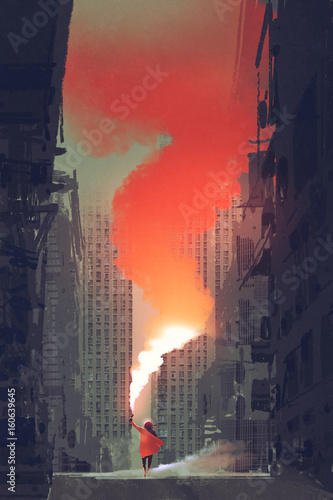 Foto op Aluminium Grandfailure woman holding red smoke flare on street in abandoned city with digital art style, illustration painting