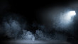 canvas print picture - Conceptual image of a dark interior full of swirling smoke