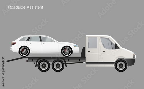 Roadside assistance tow truck illustration car  Vector - Buy this