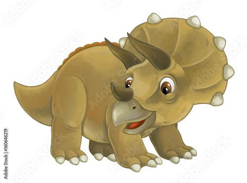 Photo  cartoon happy and funny dinosaur dinosaur - triceratops